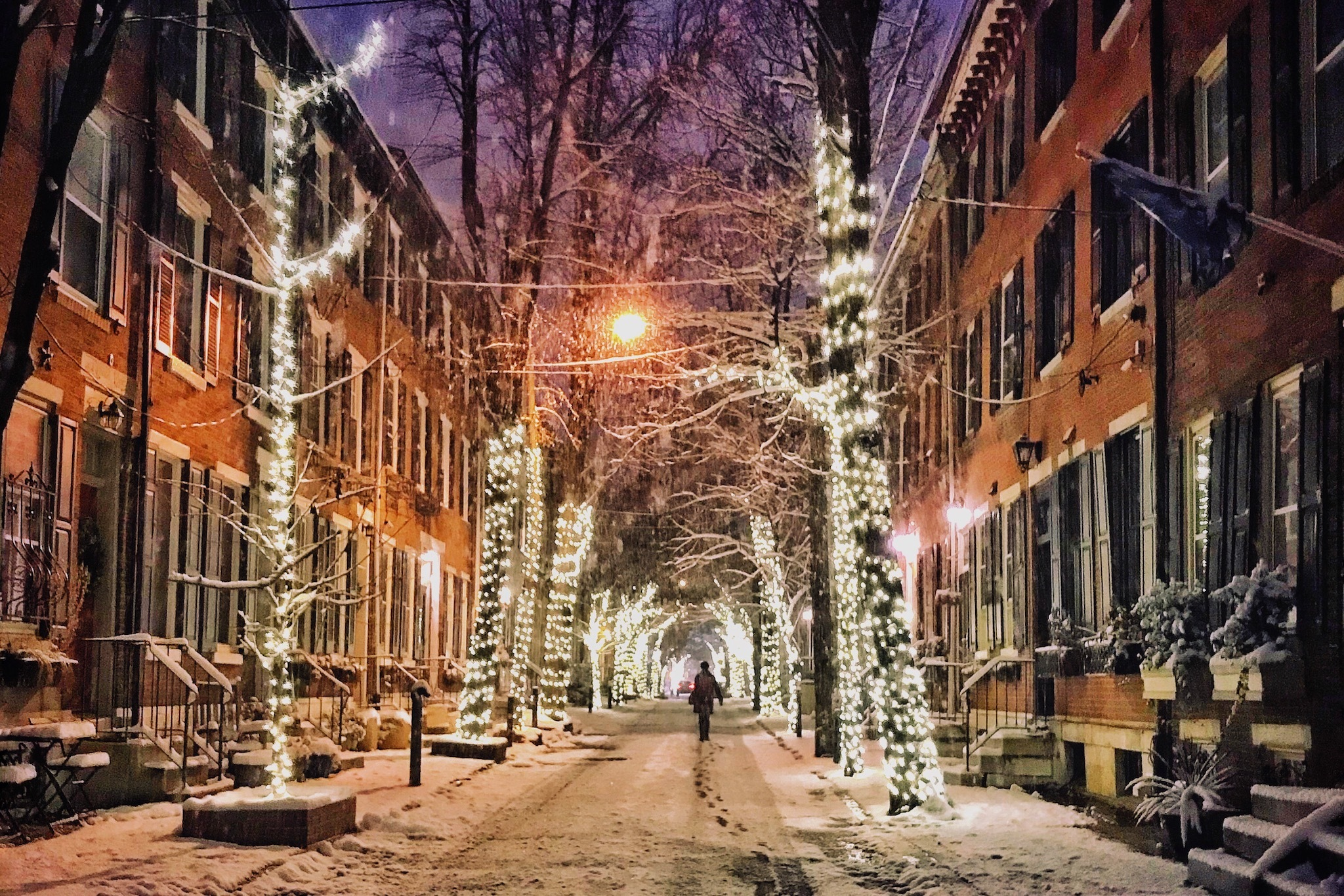 Addison Street Lights in Rittenhouse Square look especially pretty after snowfall