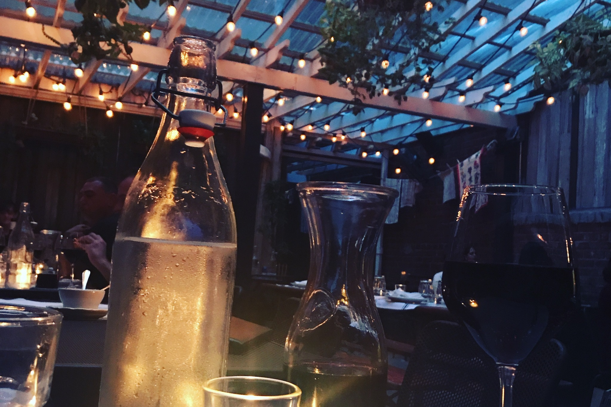 Little Nonnas charming back patio is one of the best places to have dinner in Philadelphia
