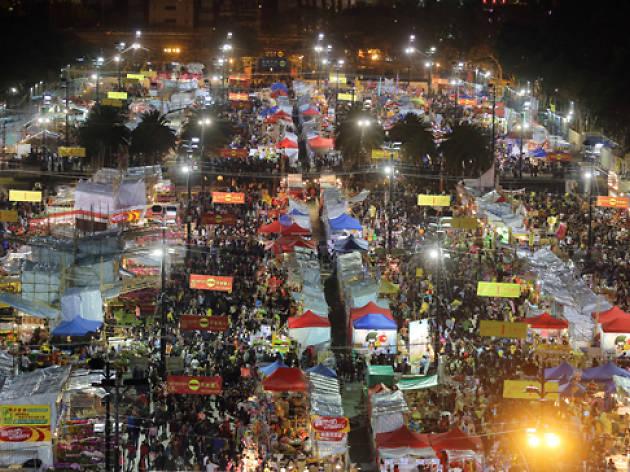 Chinese New Year night market overhead shot