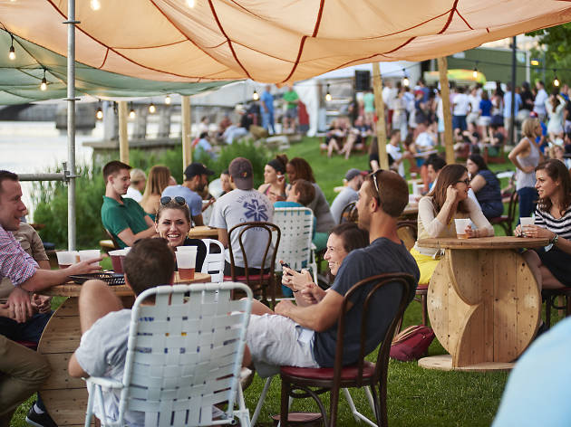 Parks on Tap is a roving beer garden in Philadelphia. This one is at Schuylkill Banks.