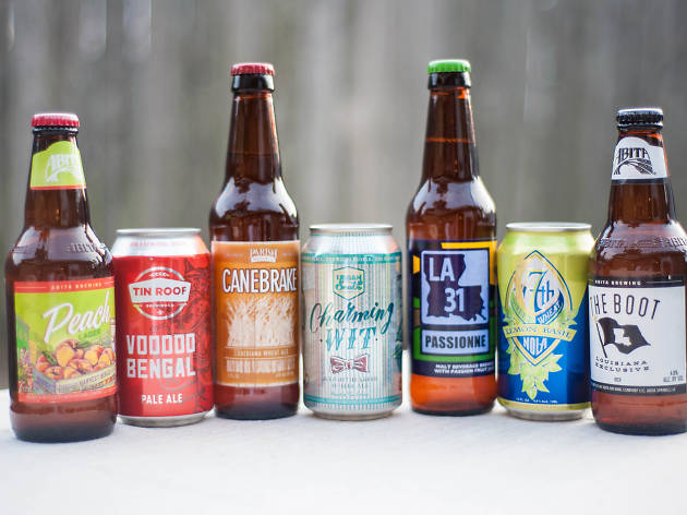 A row of craft beers from Louisiana