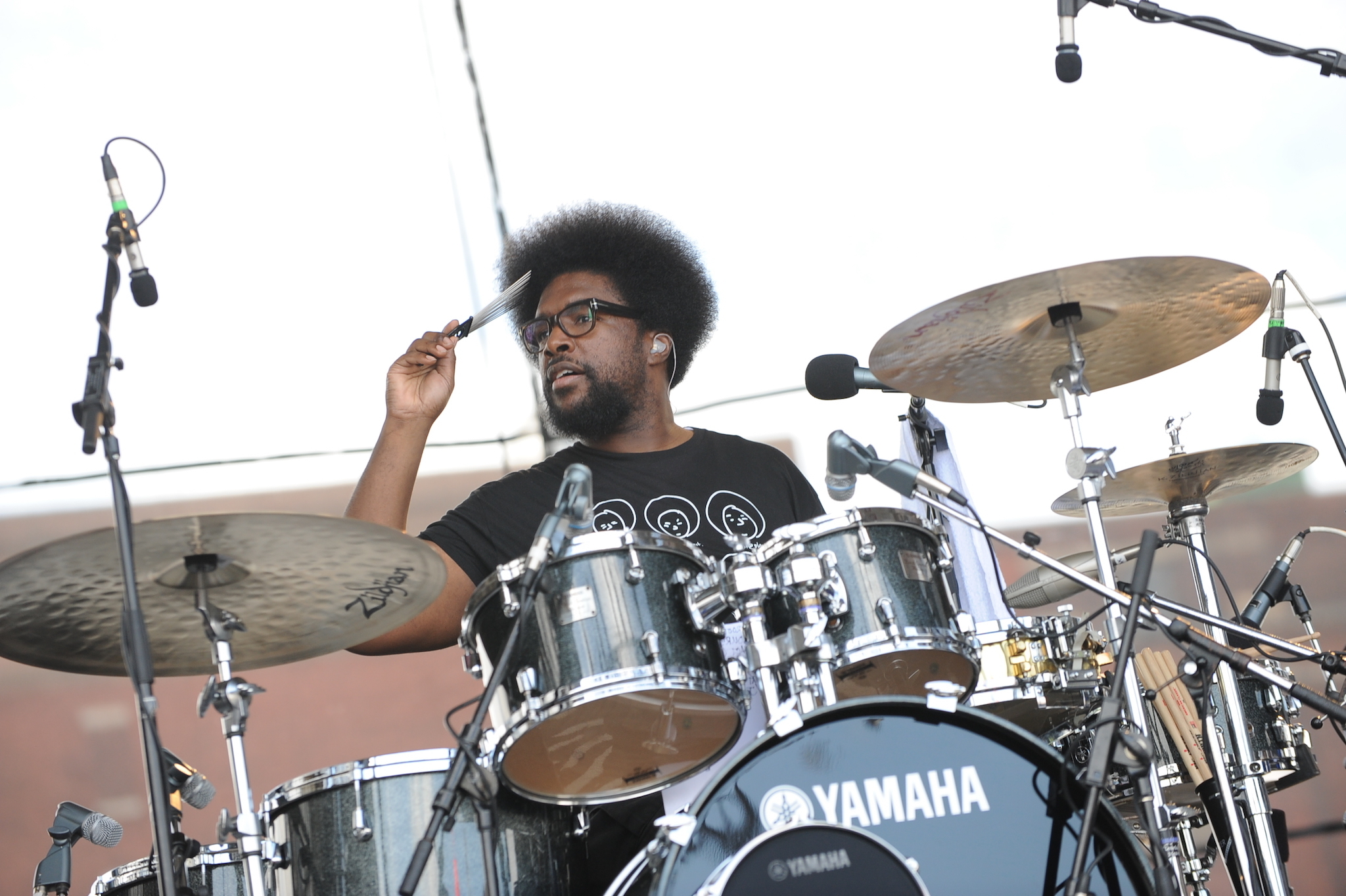 Questlove on drums at the Roots Picnic in Philadelphia