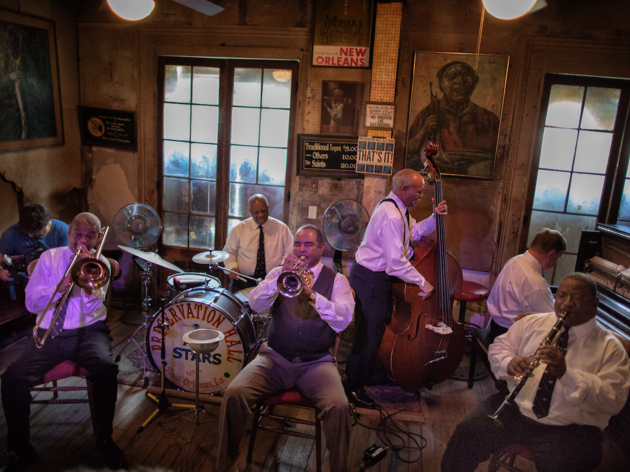 A band plays in Preservation Hall, New Orleans