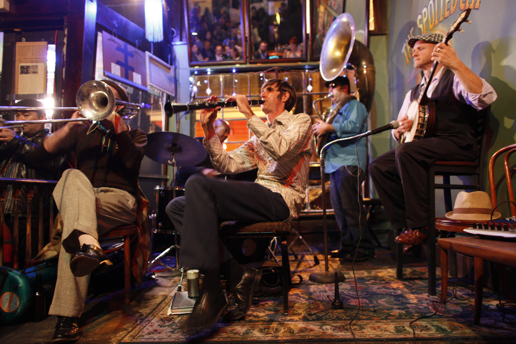 A band plays in the Spotted Cat on Frenchmen Street, New Orleans