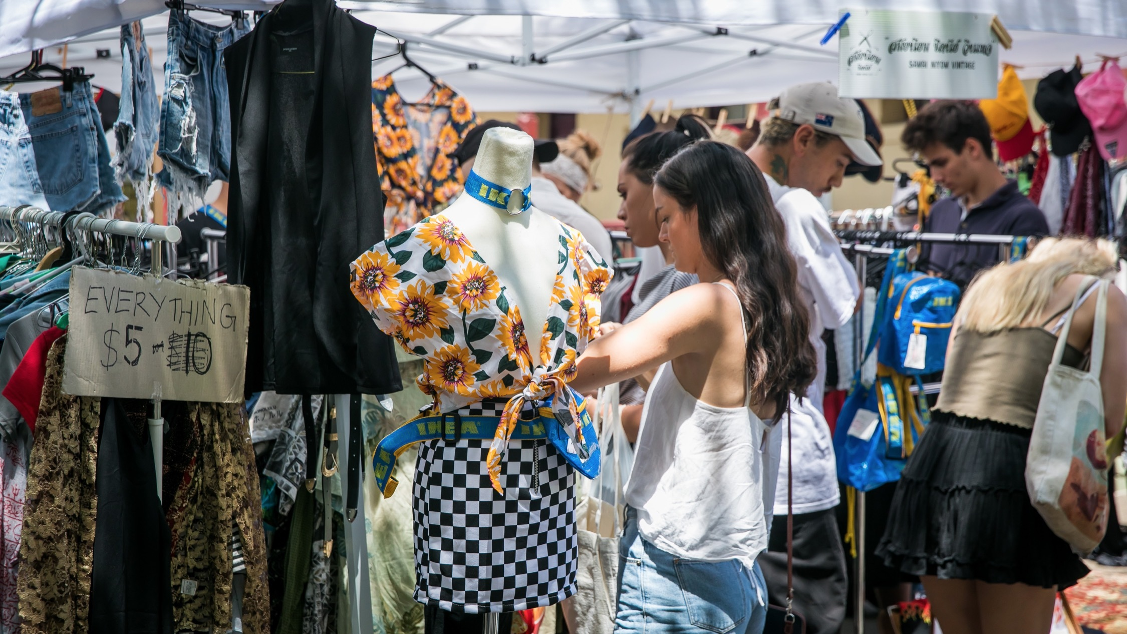 Vintage clothes stall at Glebe Markets