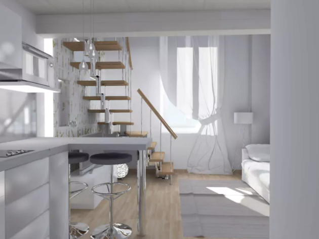 All-white canalside apartment