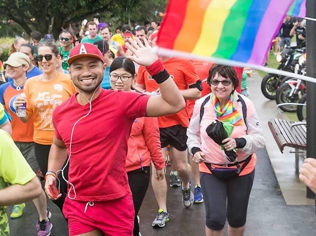 Runners participate in the 2017 Rainbow Run fun run is Sydney Park