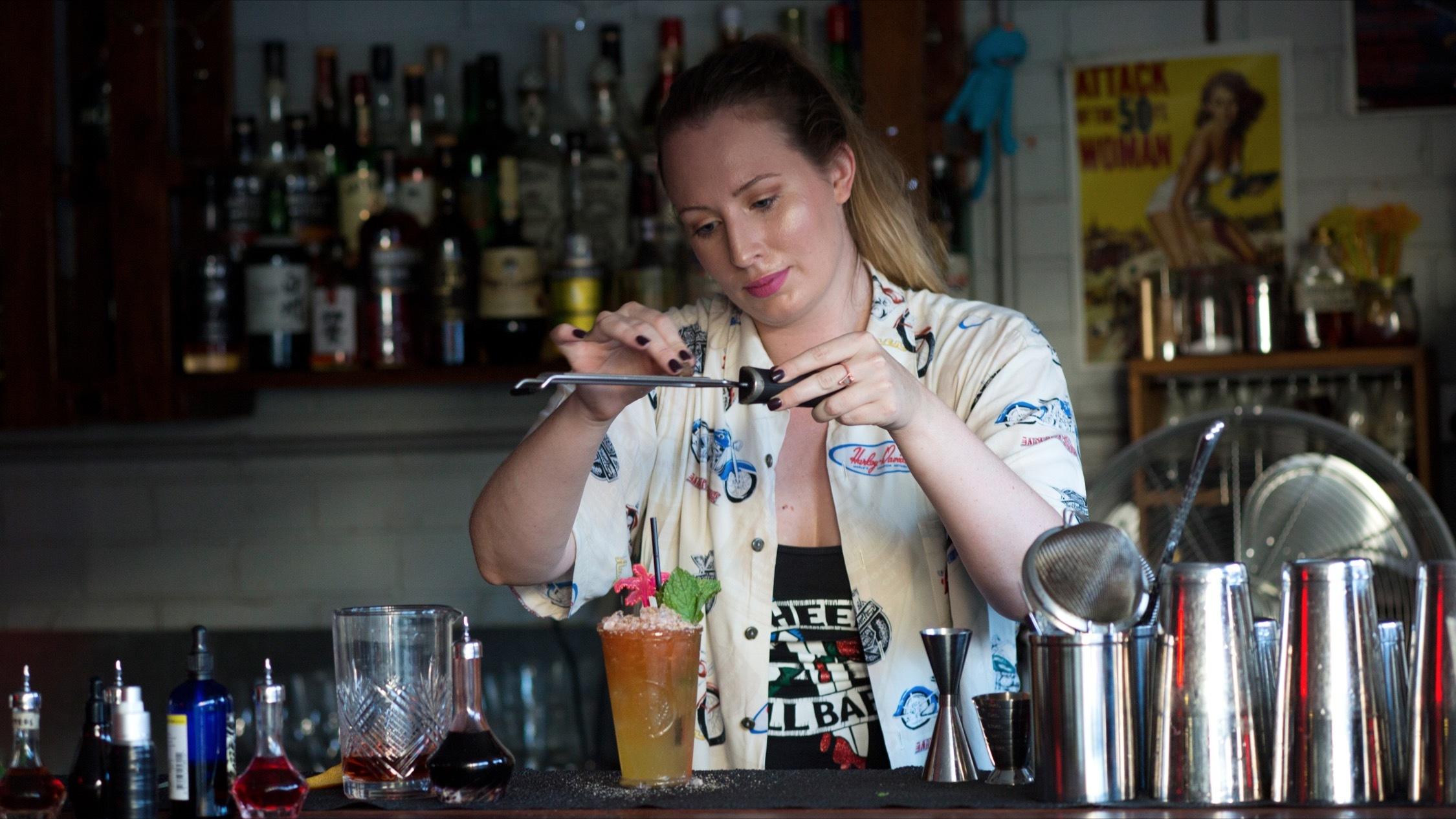 Making cocktails at Uncle Kurts