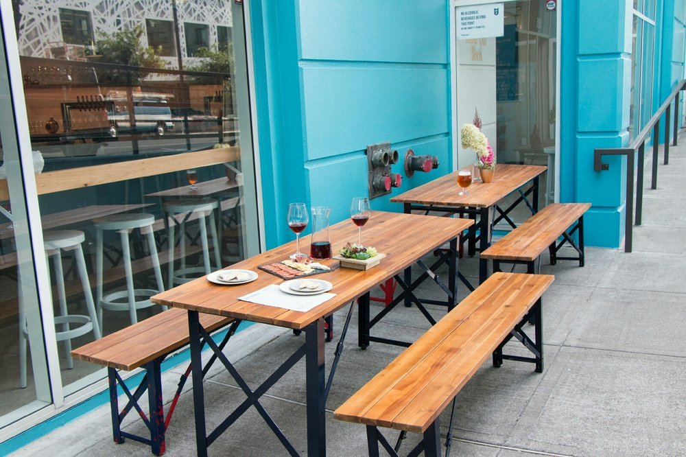 Outdoor seating at Wine Down