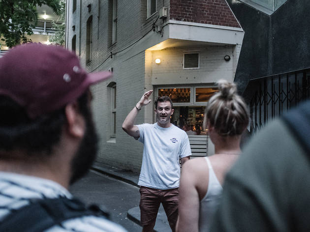 Ben Oliver leading a Drinking History Tour