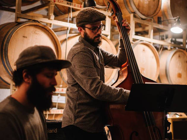 Live Folk Music in a Barrel Room