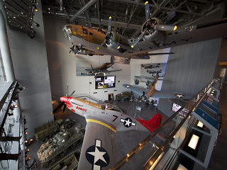 A grey airplane in the WWII museum in Louisiana