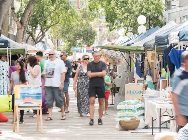 People shopping at Manly Market Place