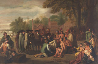 Penn's Treaty With the Indians by Benjamin West is among the paintings on display at the Pennsylvania Academy of the Fine Arts' First Academies exhibition