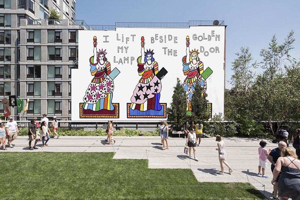 A giant mural featuring colorful versions of the Statue of Liberty is coming to the High Line