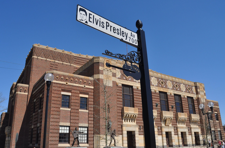 Elvis Presley Av street sign at the Shreveport Municipal Auditorium Louisiana