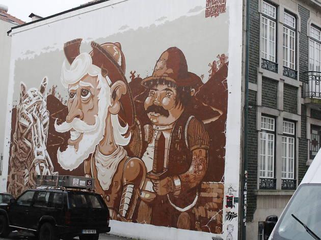 O mural de D. Quixote & Sancho Pança fica no quarteirão das artes