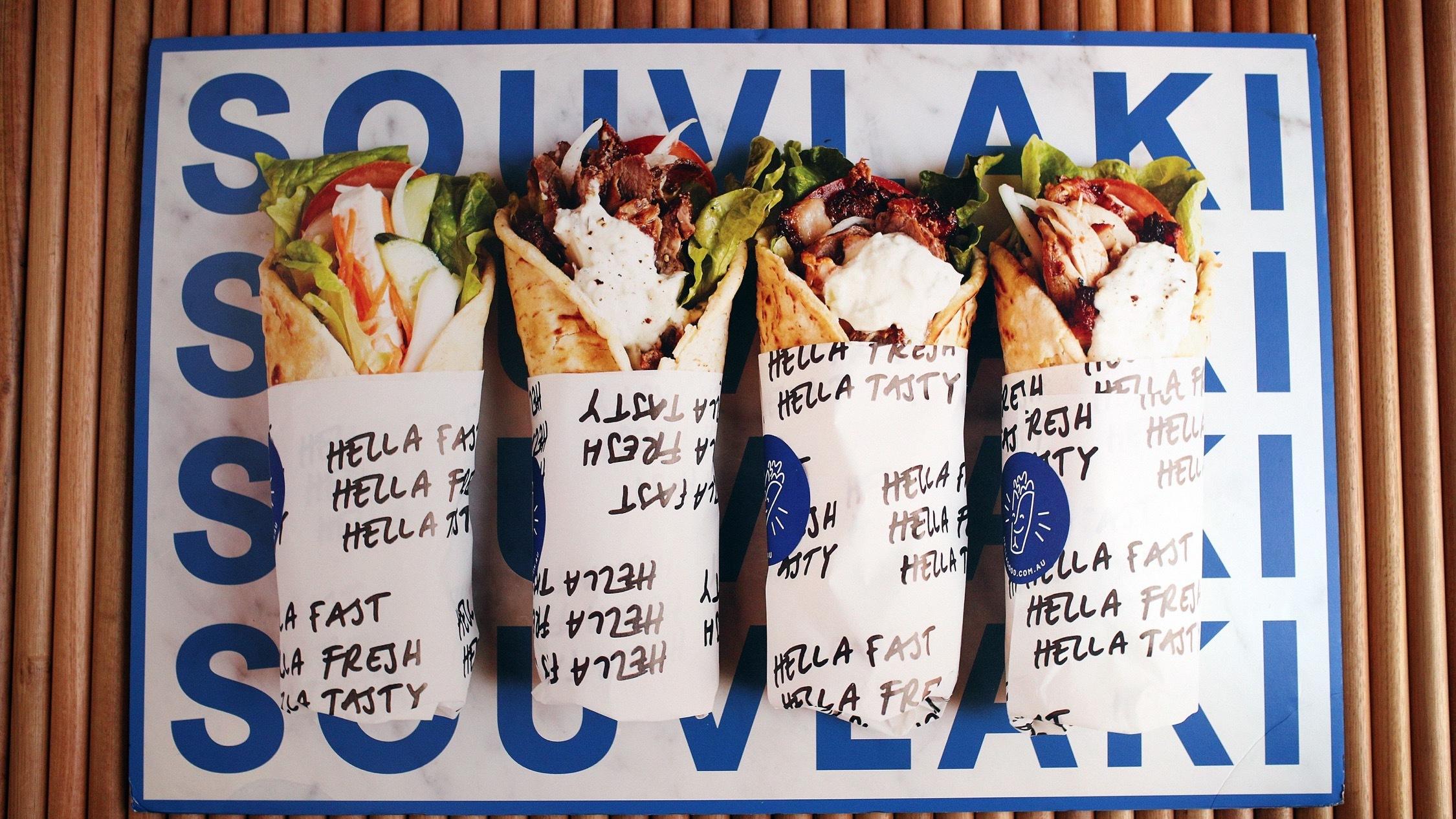 Food wrap kebab at Hella Good Melbourne