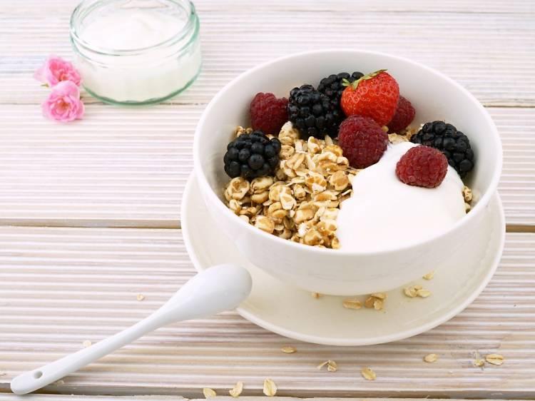 On weekdays, breakfast is simple and healthy