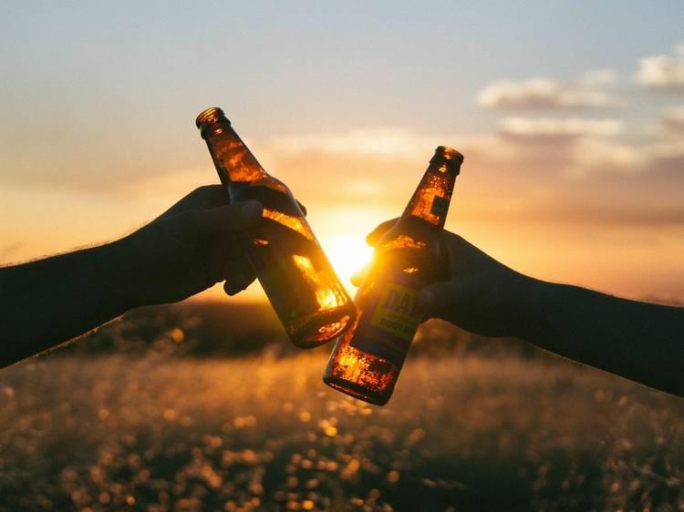 Drink in the evening sunlight in summer