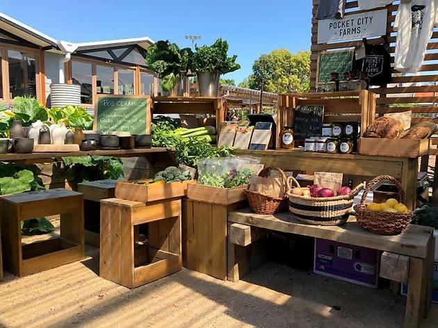 Fresh produce market stall at Camperdown Commons Easter weekend.