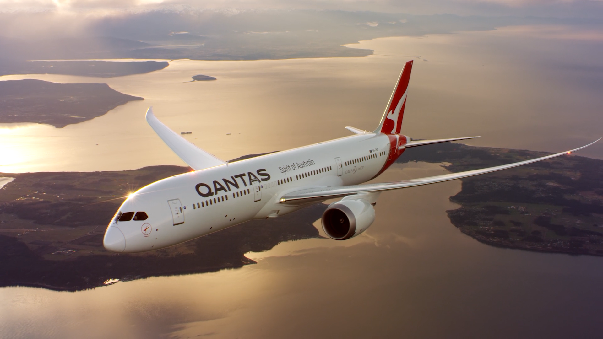 Qantas Dreamliner in the sky over Melbourne
