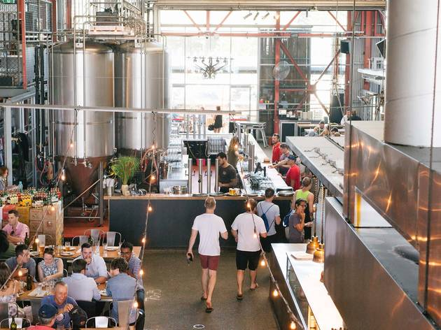 People drinking at Little Creatures Brewery