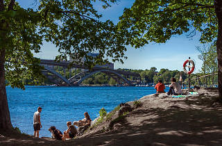 People enjoying Långholmen island
