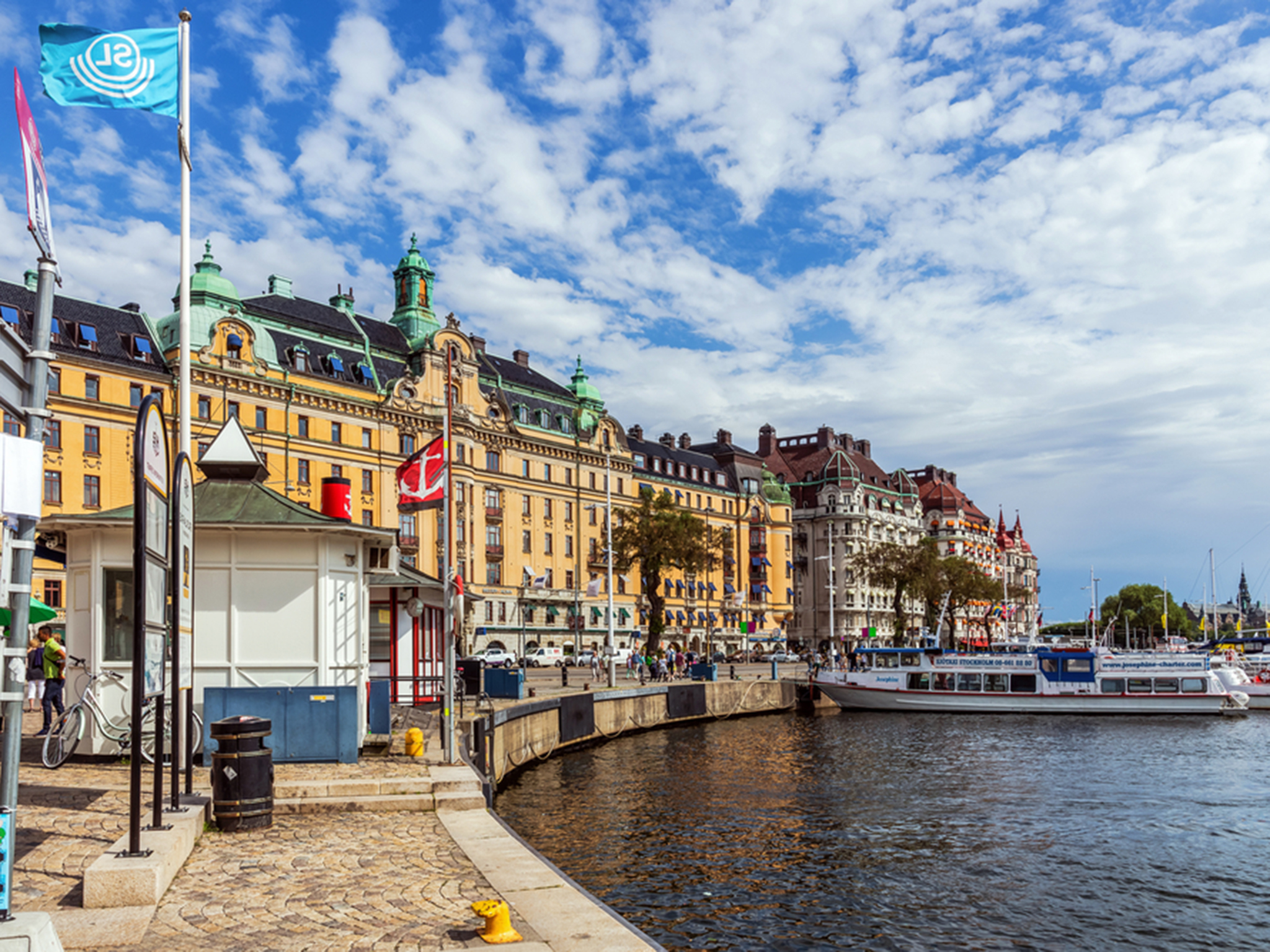 Sip rosé from a floating bar on Stockholm's glitziest street