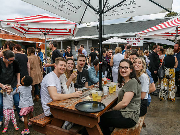 Friends and families enjoy the Neighbourhood Watch food and drink