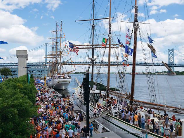 Sail Philadelphia brings nine tall ships from along the eastern U.S., Bermuda, and Portugal to dock at Penn's Landing in Philadelphia