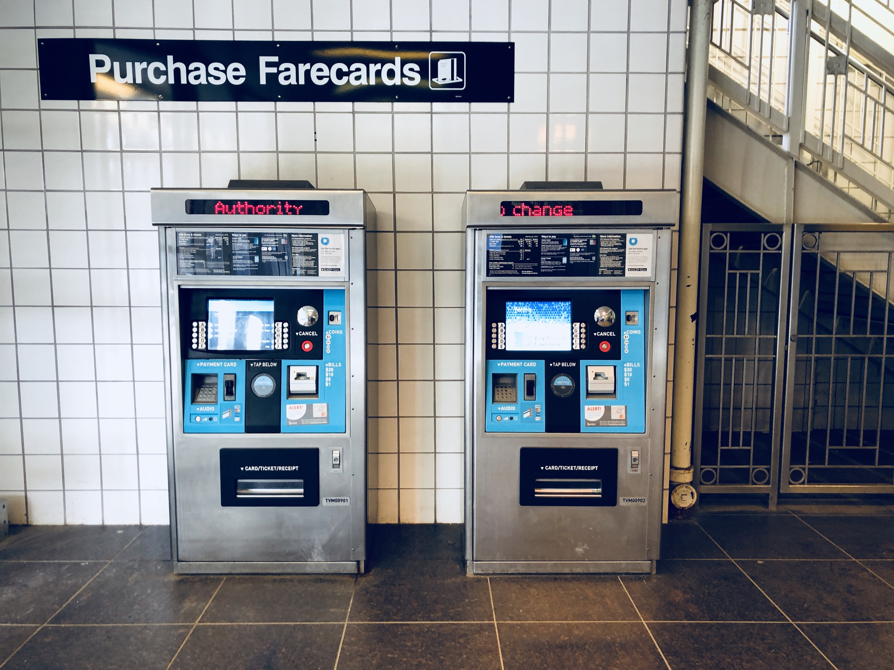 Ventra farecard machines at a CTA station
