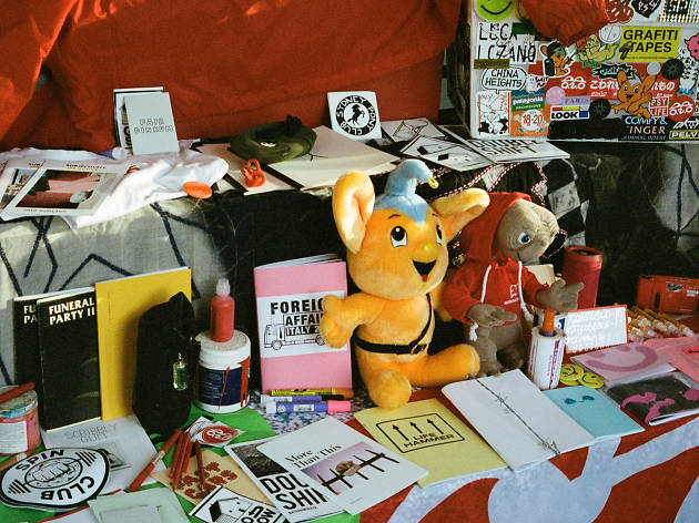 Magazines, art and other artefacts at a zine stall
