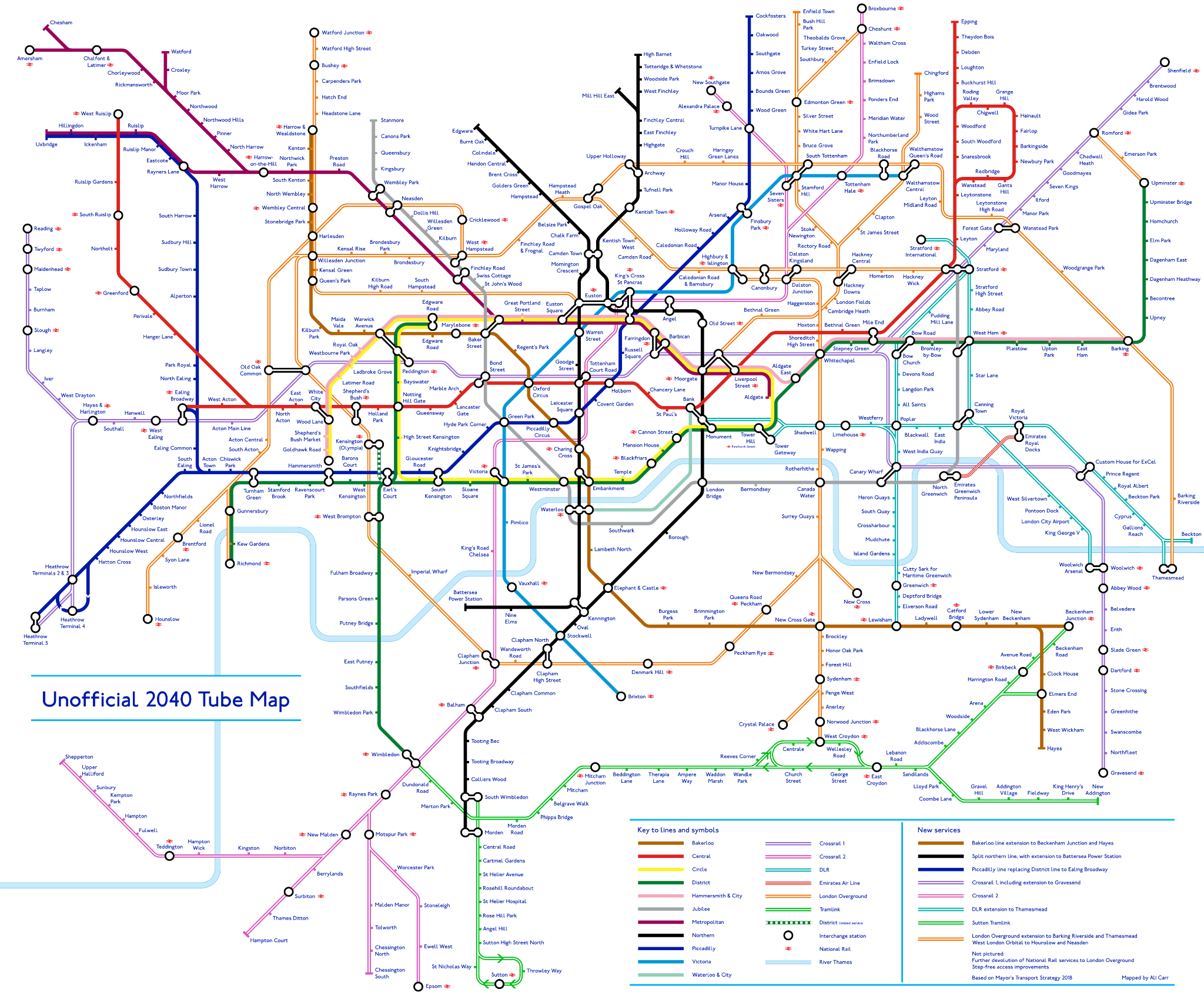 Here's what the London tube map could look like in 2040
