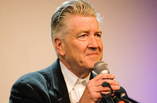 David Lynch with a microphone
