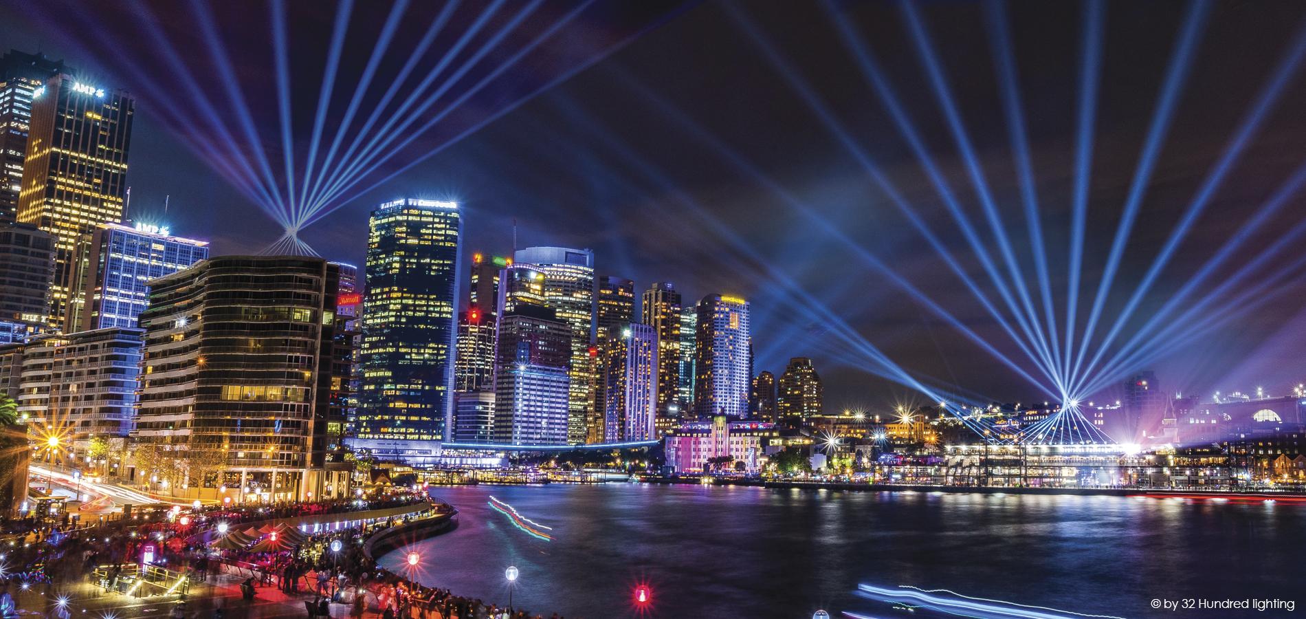 Light show over Sydney Harbour and Bridge