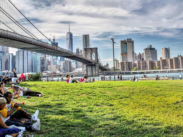 People relaxing in Brooklyn Bridge Park