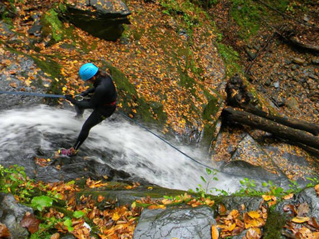 Waterfall rappelling with Northeast Mountain Guides