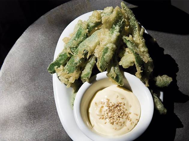 Judia verde en tempura