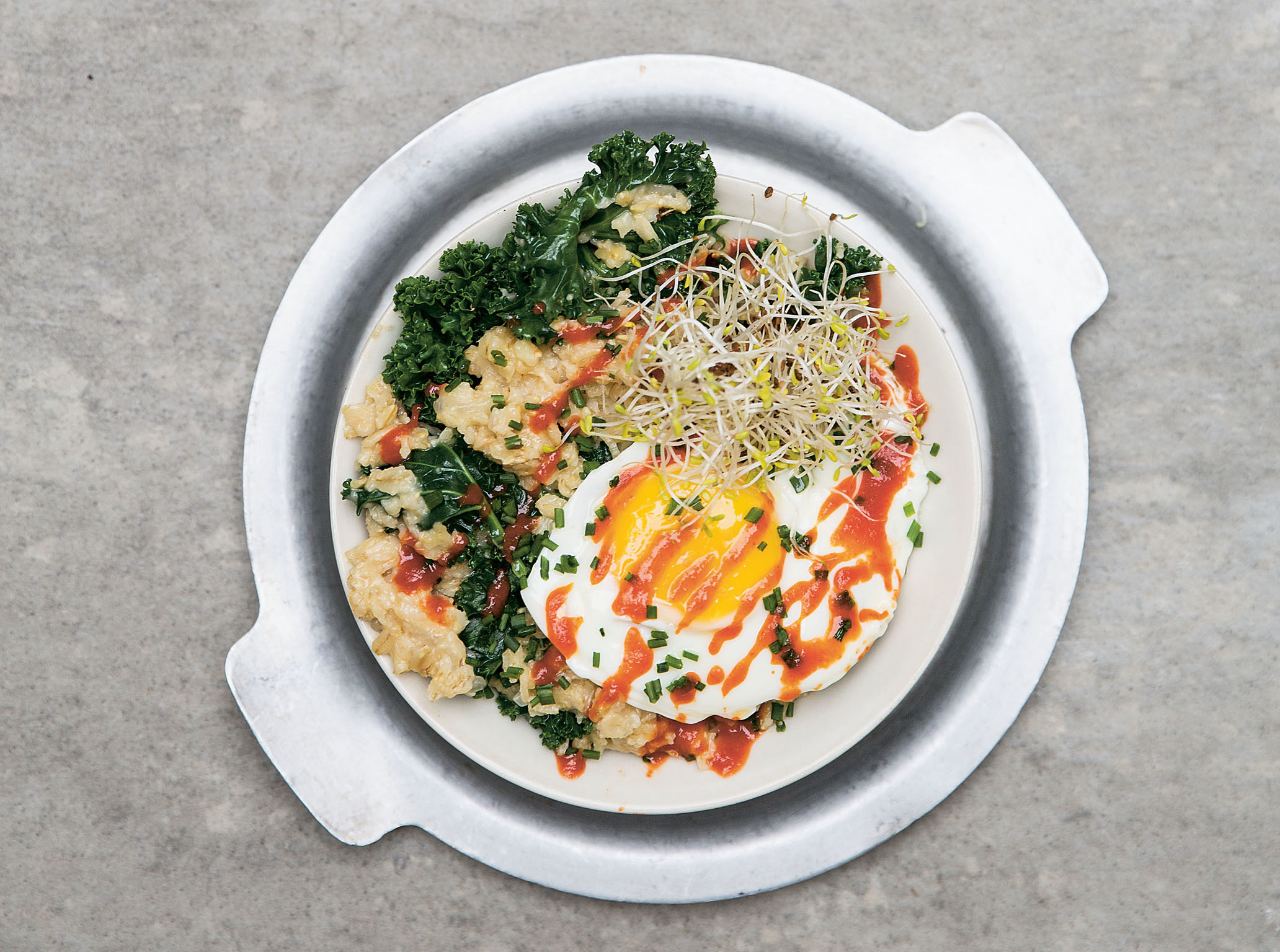 Egg and spinach at 26 Grains