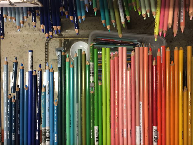 Coloured pencils at the art workshop