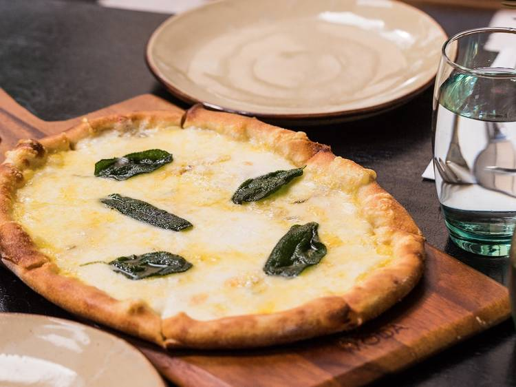 Pizzetta Rosso with tomato, bocconcini and basil at Coppa Spuntino, $20