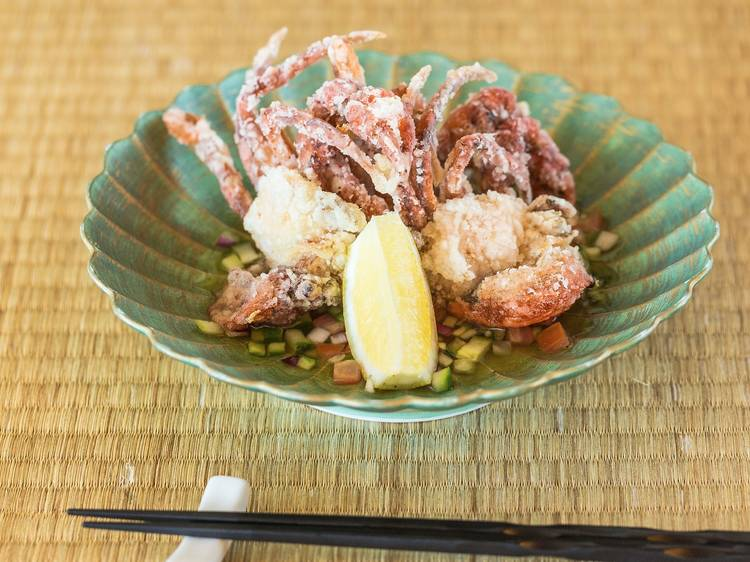 Soft shell crab with shiso salsa at Sono Portside, $20