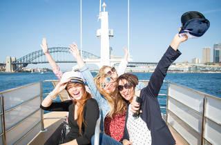Ladies enjoy a ride on the Shopper Hopper at Sydney Harbour