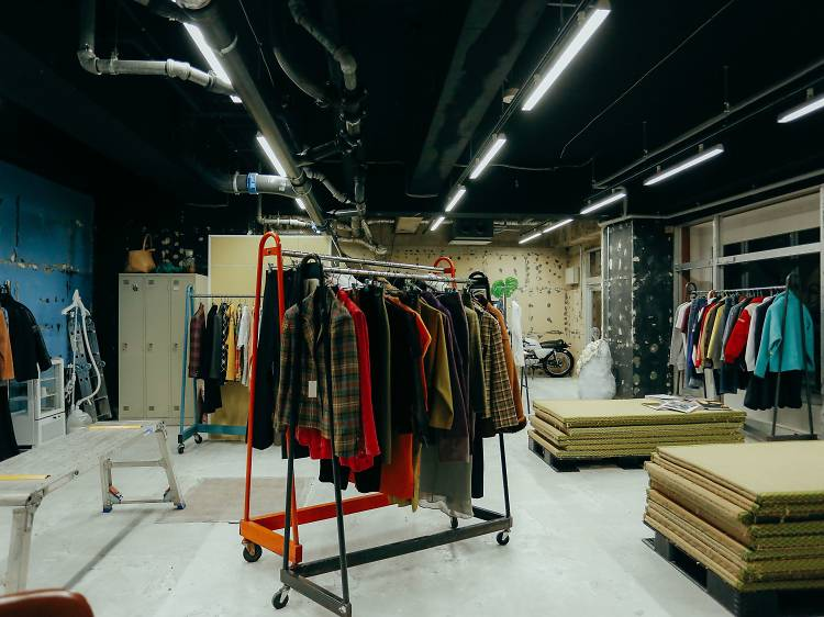 Shop for eclectic fashion in a love hotel district