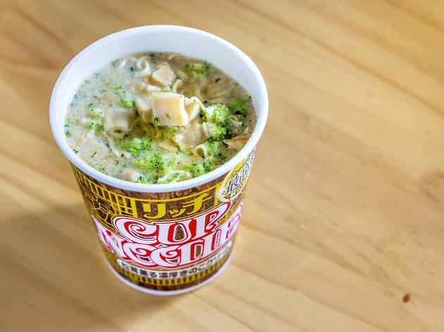 Rich Matsutake mushroom with white cream cup noodles