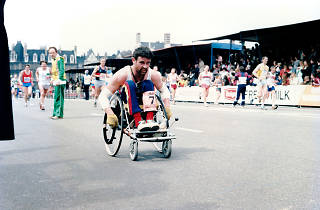 Tim Marshall at the finish line of the 1985 London Marathon
