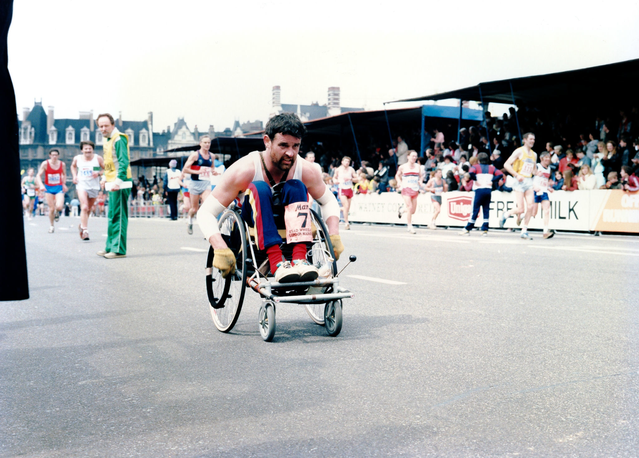 Tim Marshall at the finish line of the 1985 London Marathon