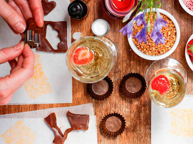 Luxury chocolate making workshop for two including bubbly