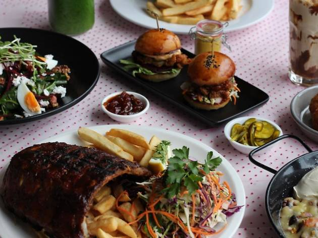 Burgers and shakes and ribs and salads.